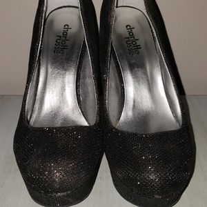 318be7d40e61 Charlotte Russe Shoes - NEW black high heels sparkly sz 6 Charlotte Russe